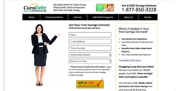 curadebt home page