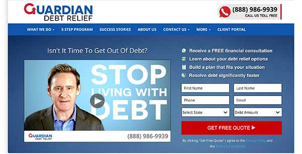 guardian debt relief home page
