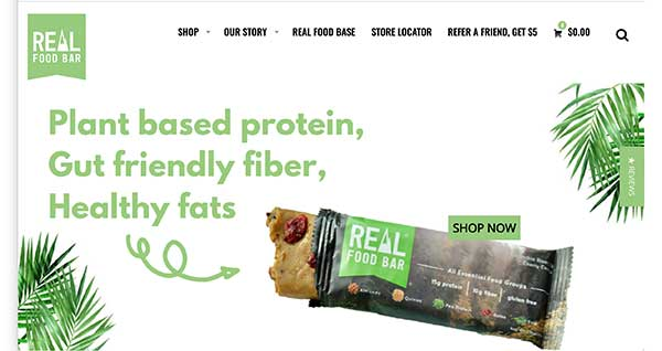 real food bar homepage