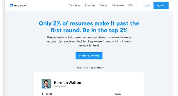 resume.io home page