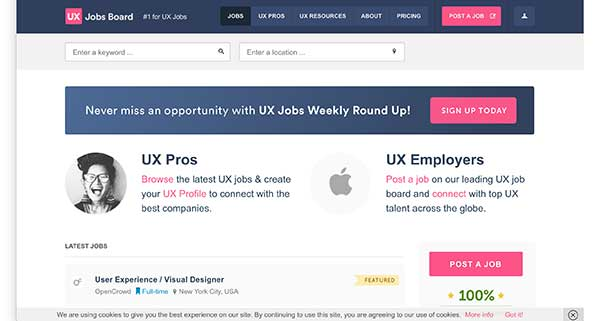 ux jobs board home page