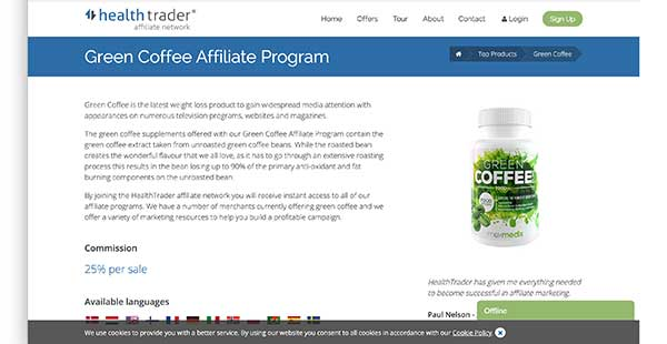 health trader affiliate home page
