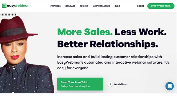 easy webinar home page