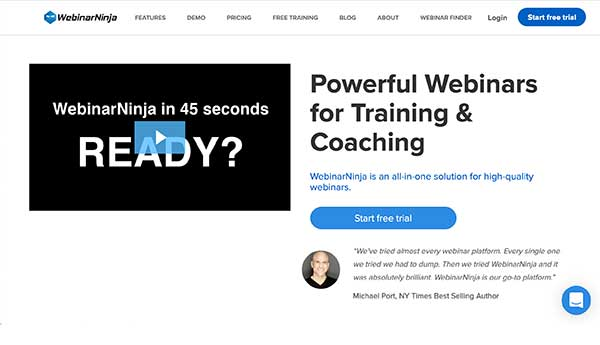 webinar ninja home page