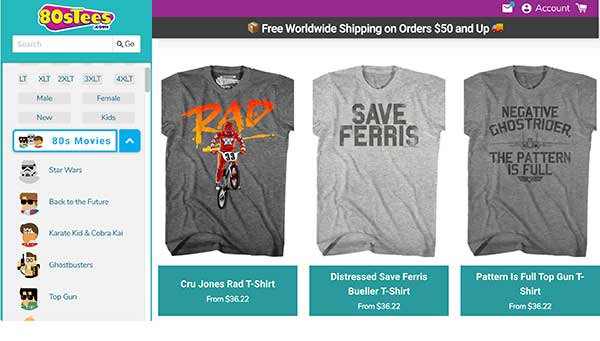 80s Tees home page