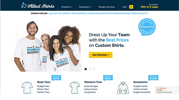 allied shirts home page