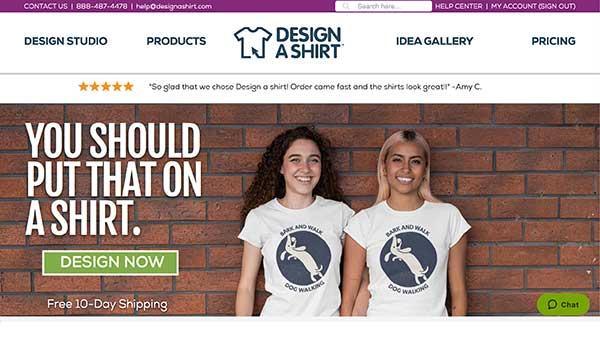 design a shirt home page