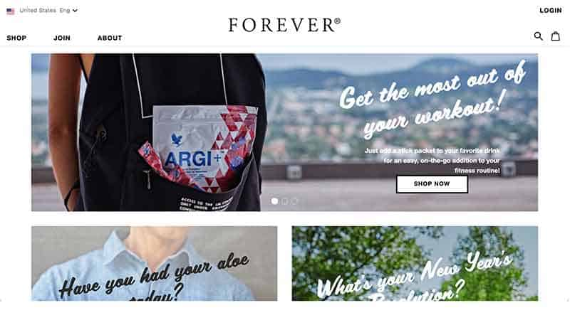 forever living home page