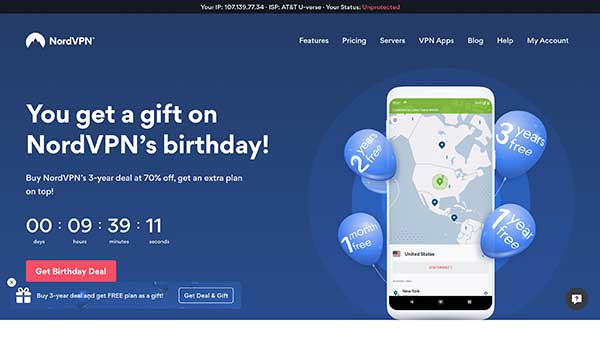 nordvpn home page