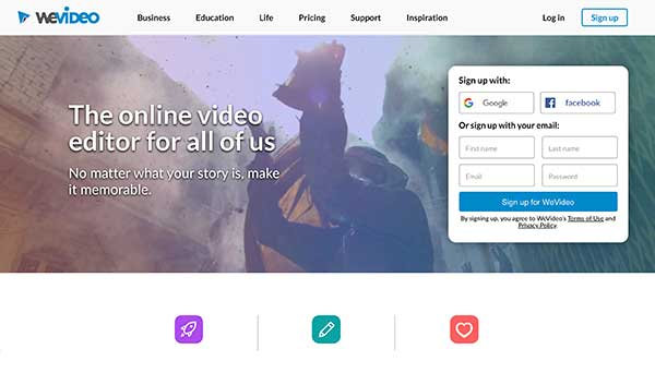 wevideo home page