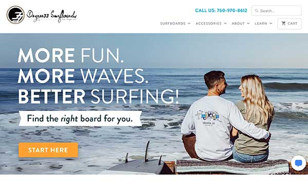 degree 33 surfboards home page