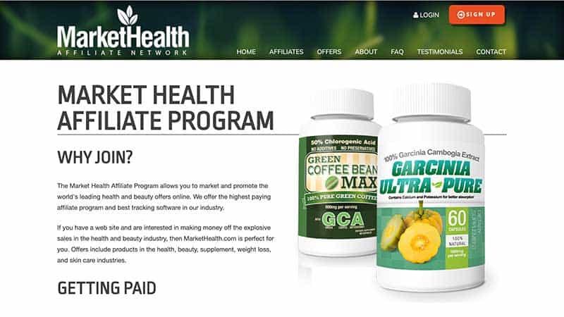 market health affiliate program review - website