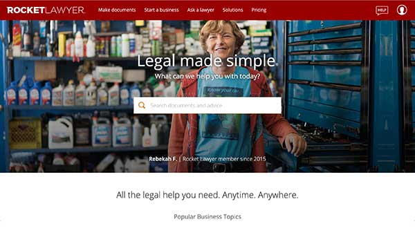 rocket lawyer home page