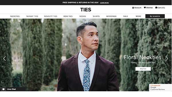 ties.com home page