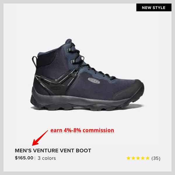 hiking boot affiliate commission