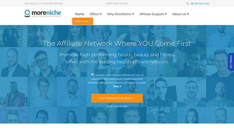the moreniche home page