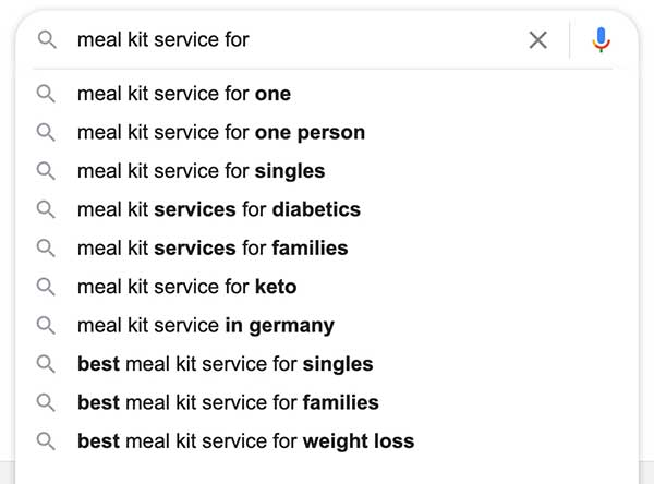 meal kit search results