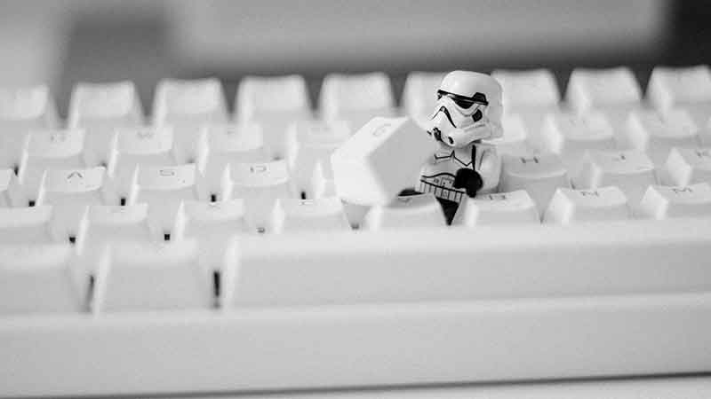 geek affiliate programs - keyboard with a storm trooper