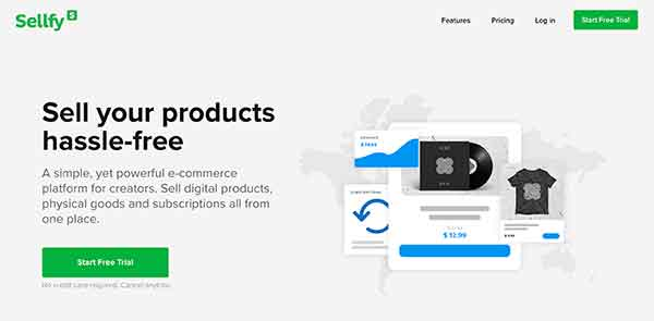 sellfy home page
