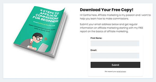 sell affiliate products without blogging - email opt-in form