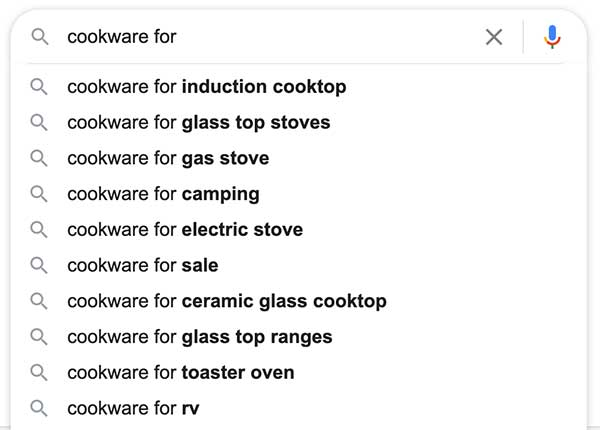 google search for cookware