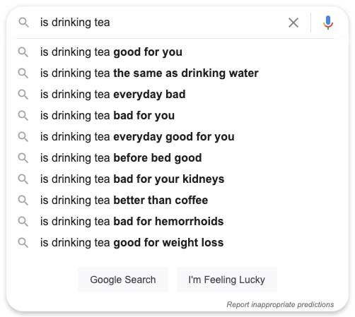 google search for tea