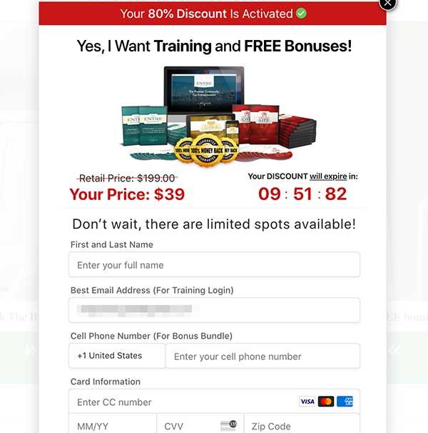 entre blueprint sales page